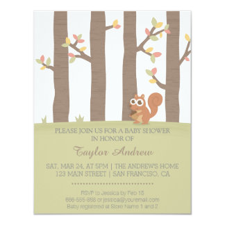 Autumn Fall Forest Squirrel Baby Shower Card
