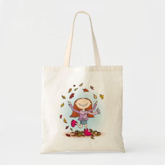 Autumn / fall fun in the leaves girl pink boot tote bag