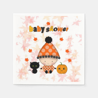 Autumn Fall Halloween Baby Shower Paper Napkins