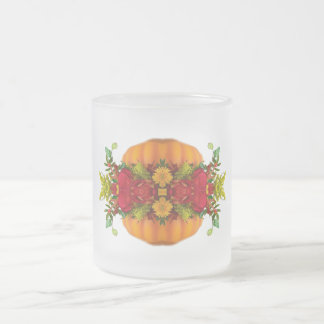 AUTUMN FALL HARVEST COLORS PUMPKIN  KALEIDOSCOPE 10 OZ FROSTED GLASS COFFEE MUG