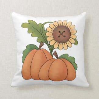 Autumn Fall Harvest Pumpkin Patch Throw Pillow