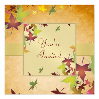 Autumn Fall Harvest Thanksgiving Dinner Invitation