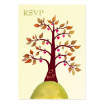 Autumn Fall Heart Tree Carving Wedding RSVP Cards Business Cards