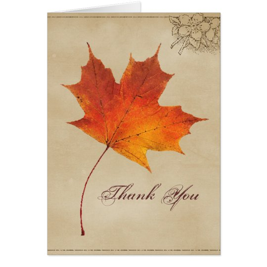 Autumn Fall in Love Leaves Wedding thank you Card
