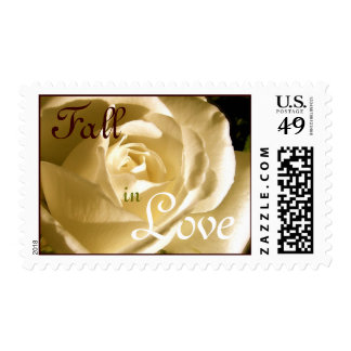 Autumn Fall in Love Wedding Cream Rose Postage