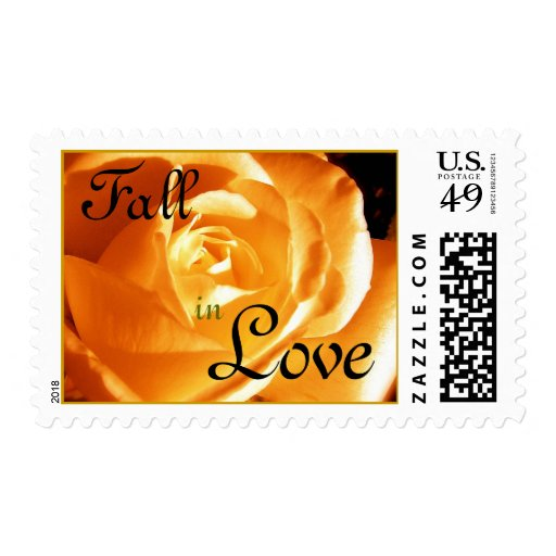 Autumn Fall in Love Wedding Rose Postage