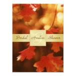 Autumn Fall Leaf Bridal Shower Monogram Invitation