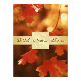 "Autumn Fall Leaf Bridal Shower Monogram Invitation 6.5"" X 8.75"" Invitation Card"