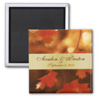 Autumn Fall Leaf Gold Ribbon Save The Date Magnet