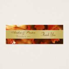 Autumn Fall Leaf Gold Wedding Favor Tag at Zazzle