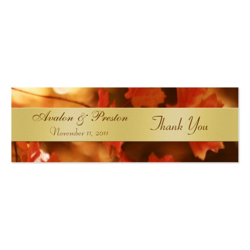 Autumn Fall Leaf Gold Wedding Favor Tag Business Card Template
