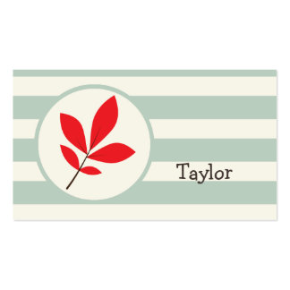 Autumn, Fall, Leaf; Leaves on Sage Green Stripes Double-Sided Standard Business Cards (Pack Of 100)