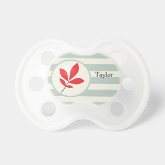 Autumn, Fall, Leaf; Leaves on Sage Green Stripes BooginHead Pacifier