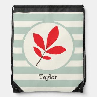 Autumn, Fall, Leaf; Leaves on Sage Green Stripes Backpack