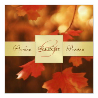 Autumn Fall Leaf Monogram Gold Ribbon Invitation