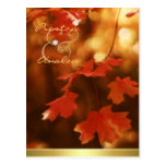 Autumn Fall Leaf Save The Date Postcard