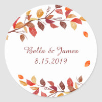 Autumn Fall Leaf Wedding Stickers