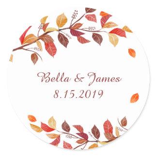 Autumn Fall Leaf Wedding Stickers