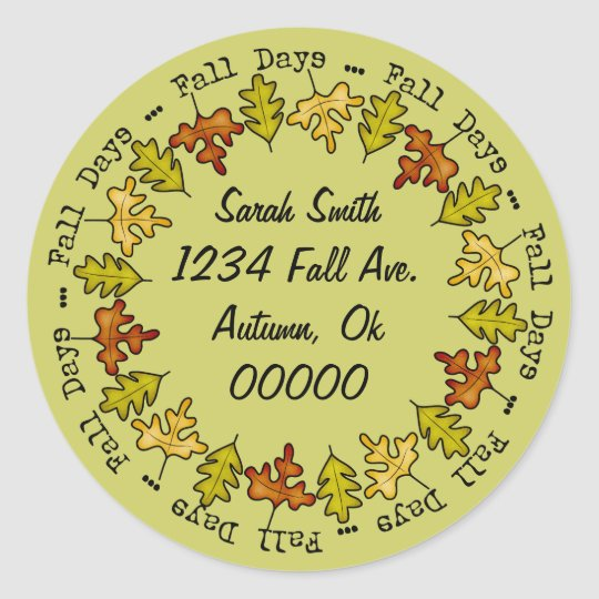 Autumn Fall Leaves Address Label Name Bookplate