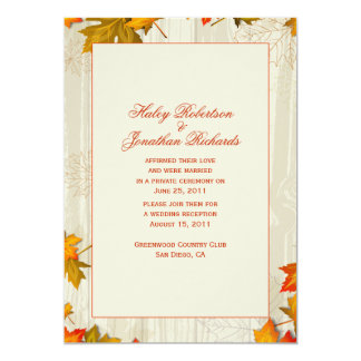 Autumn Fall Leaves After Wedding Celebration Card