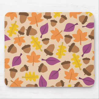 autumn fall leaves and acorns mouse pad