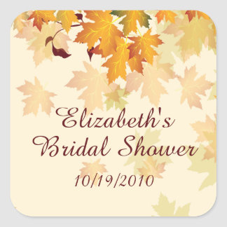 Autumn Fall Leaves Bridal Shower Sticker