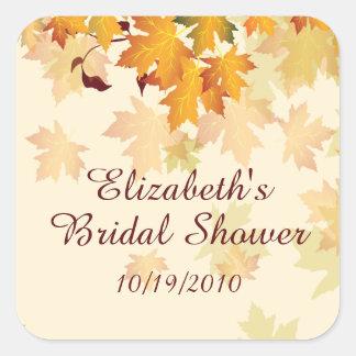 Autumn Fall Leaves Bridal Shower Sticker