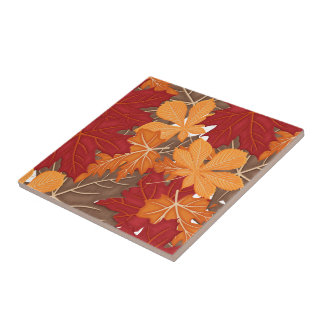 Autumn Fall Leaves Ceramic Tile