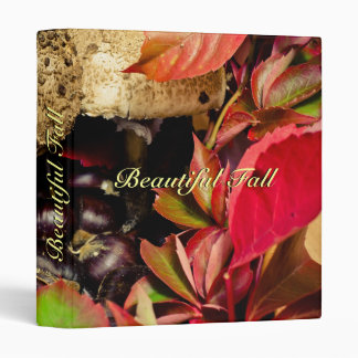 Autumn Fall leaves, chestnuts and mushrooms Binder