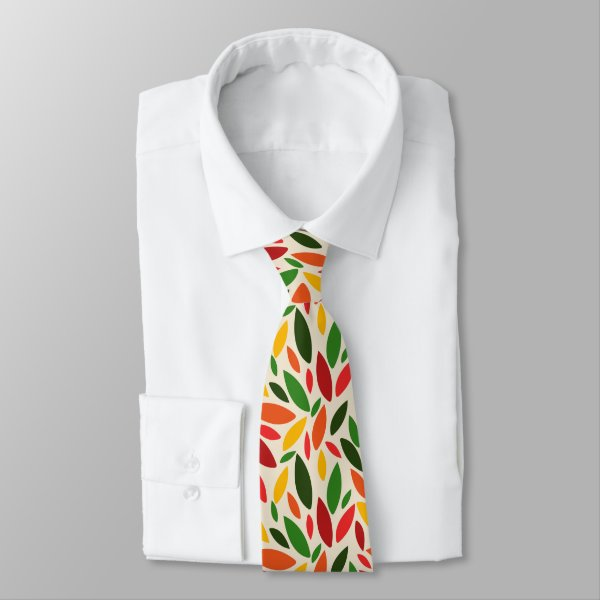Autumn fall leaves green red yellow orange neck tie