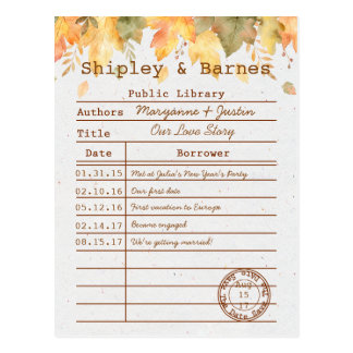 Autumn Fall Leaves Library Card Save The Date |