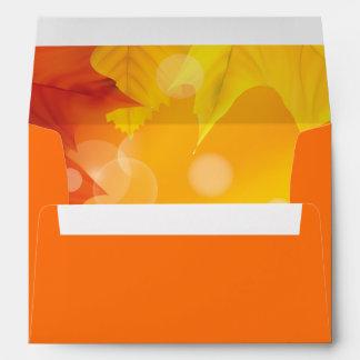 Autumn Fall Leaves Plain Orange Envelope