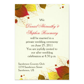Autumn Fall Leaves Post Wedding Celebration Card