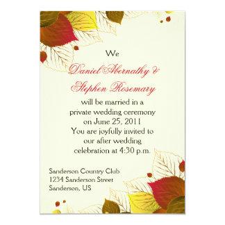 Autumn Fall Leaves Post Wedding Celebration Card