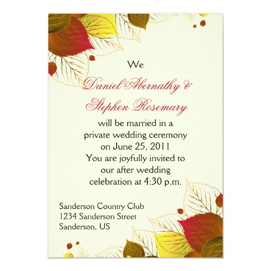 Autumn Fall Leaves Post Wedding Celebration Invitation