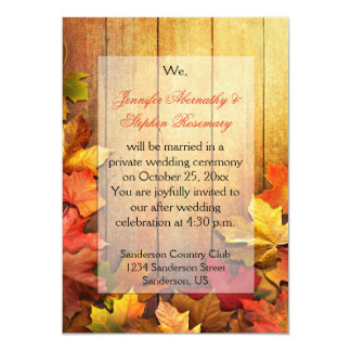 Autumn Fall Leaves Reception Only Celebration Card