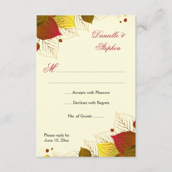 Autumn Fall Leaves RSVP Response Card