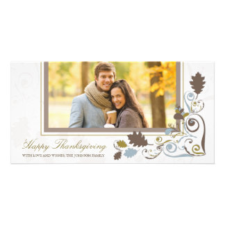 Autumn Fall Leaves Swirls Thanksgiving Holiday Photo Card