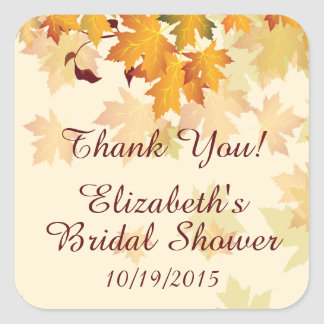 Autumn Fall Leaves Thank You Bridal Shower Sticker