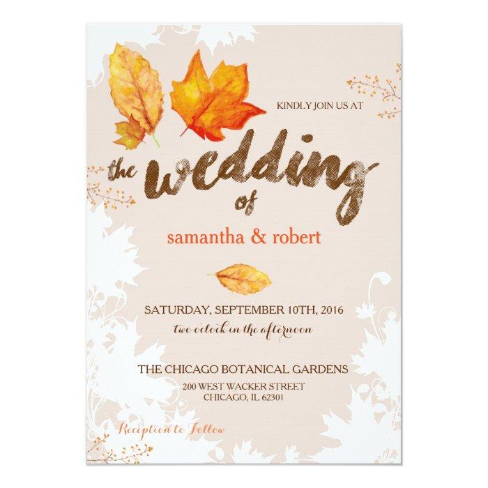 Autumn Fall Leaves Wedding Invitation