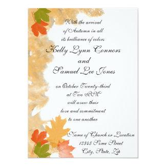 Autumn Fall Leaves Wedding 5.5x7.5 Paper Invitation Card