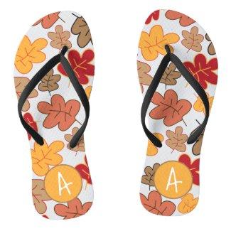 Autumn Fall Leaves Whimsical Pattern Monogrammed Flip Flops