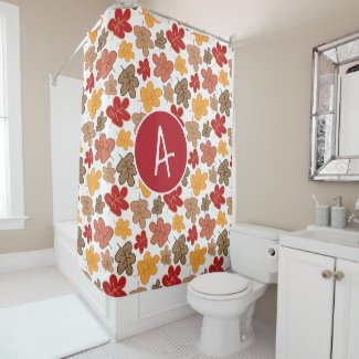 Autumn Fall Leaves Whimsical Pattern Monogrammed Shower Curtain