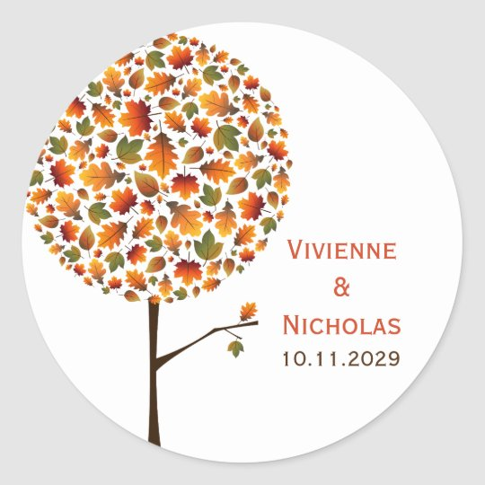 Autumn Fall Leaves Whimsy Pop Tree Wedding Sticker
