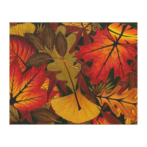 Falling Leaves Wall Decor : Autumn fall leaves wood wall art zazzle