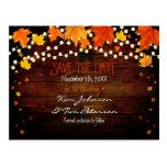 Autumn Fall Lights Rustic Postcard Save Date