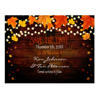 Autumn Fall Lights Rustic Postcard Save Date