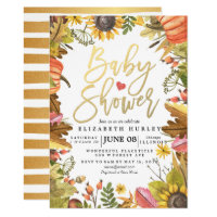 Autumn Fall Maple Leaves Pumpkin Baby Shower Cards