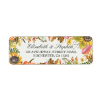 Autumn Fall Maple Leaves Pumpkin Wedding Address Label