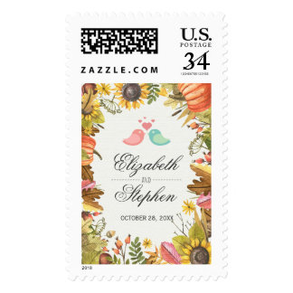 Autumn Fall Maple Leaves Pumpkin Wedding Shower Postage